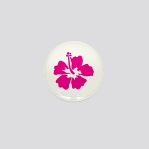 Hot Pink Hibiscus Flower Mini Button