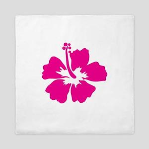 Hot Pink Hibiscus Flower Queen Duvet