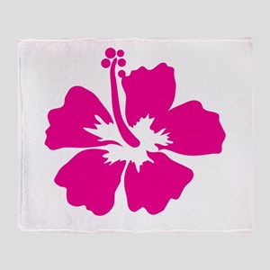 Hot Pink Hibiscus Flower Throw Blanket