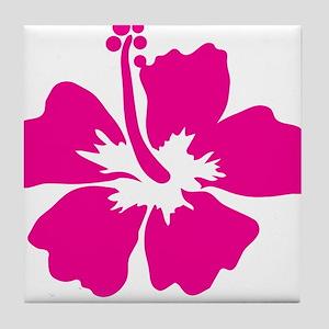 Hot Pink Hibiscus Flower Tile Coaster
