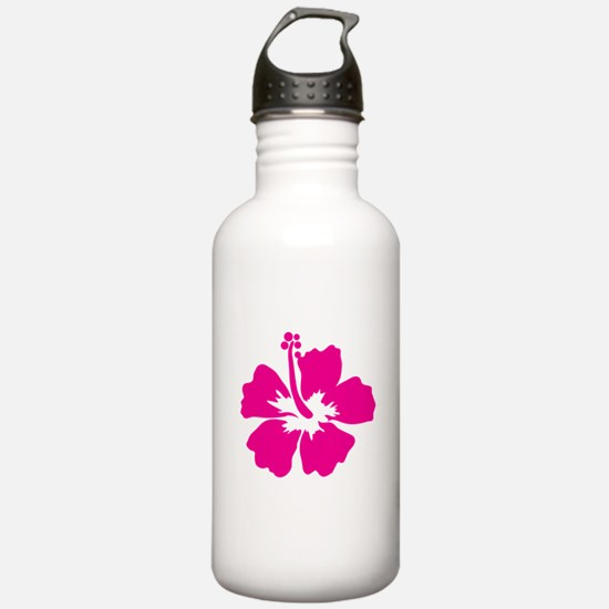 Hot Pink Hibiscus Flower Water Bottle