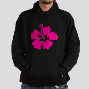 Hot Pink Hibiscus Flower Hoodie (dark)