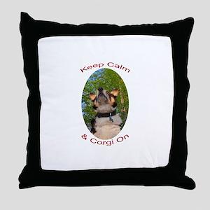 Keep Calm & Corgi On Throw Pillow