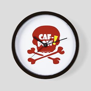 Caf-Pow Skull Wall Clock