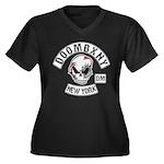 Doombxny Biker Patch Women's Plus Size V-Neck Dark