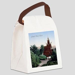 Vintage Fantoft Stave Church Canvas Lunch Bag