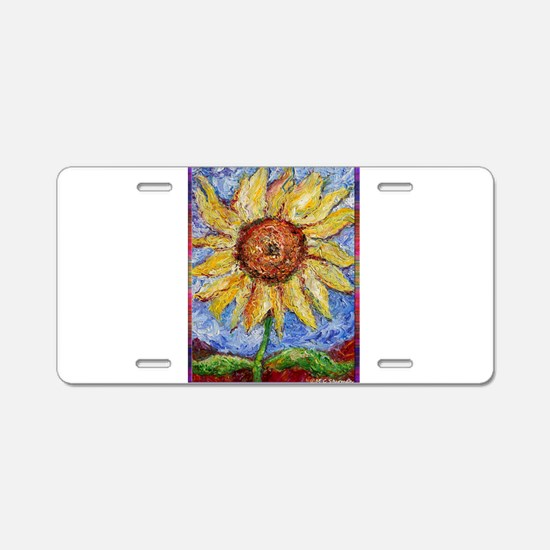 Sunflower!Colorful flower art! Aluminum License Pl