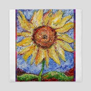 Sunflower!Colorful flower art! Queen Duvet