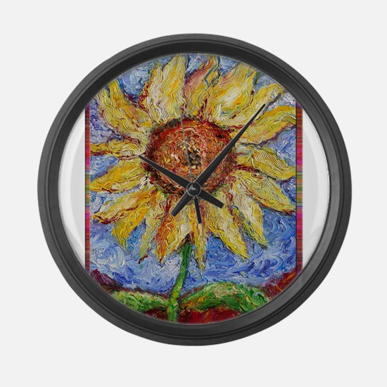 Sunflower!Colorful flower art! Large Wall Clock