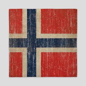 Vintage Norway Flag Queen Duvet