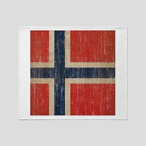 Vintage Norway Flag Throw Blanket