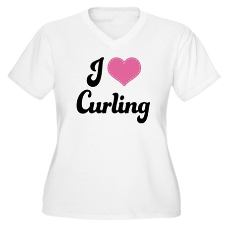 I Love Curling Women's Plus Size V-Neck T-Shirt