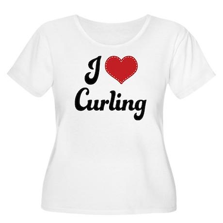 I Love Curling Women's Plus Size Scoop Neck T-Shir