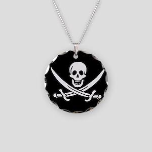 Calico Jack Flag Necklace Circle Charm