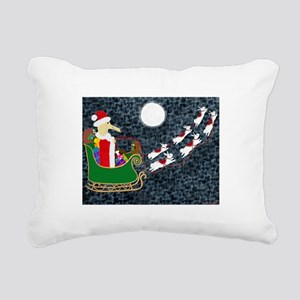 Santa Dachshund Rectangular Canvas Pillow