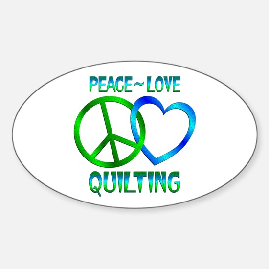 Peace Love Quilting Sticker (Oval 10 pk)