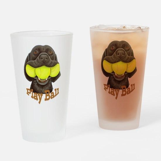 Play Ball, Labrador with Tennis Balls Drinking Gla