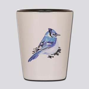 Original Watercolor Blue Jay Shot Glass