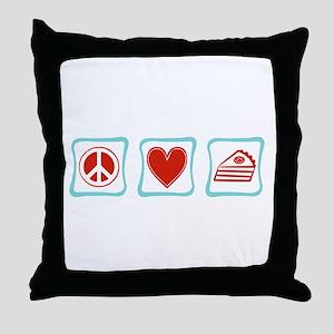 PeaceLovePieSquares Throw Pillow