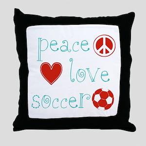 PeaceLoveSoccer Throw Pillow
