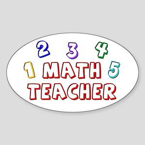 """""""Math Teacher Kid"""" Oval Sticker"""