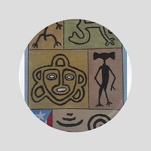 """Taino Petroglyphs 3.5"""" Button"""