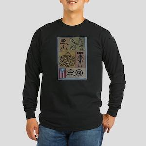 Taino Petroglyphs Long Sleeve Dark T-Shirt