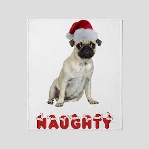 Naughty Pug Throw Blanket