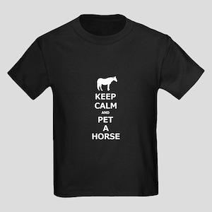 Keep Calm Pet A Horse Kids Dark T-Shirt