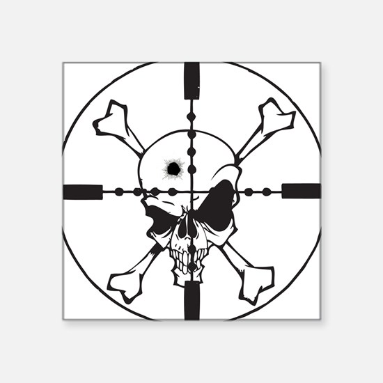 "Skull_in_Scope2sm.jpg Square Sticker 3"" x 3"""