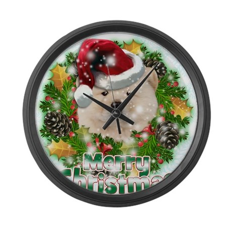 Merry Christmas Chow Chow.png Large Wall Clock