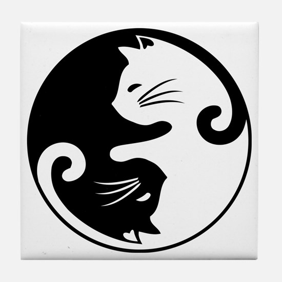 Funny Cat cup Tile Coaster