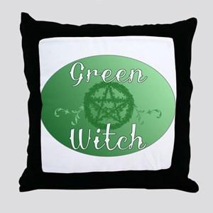 green witch clear Throw Pillow