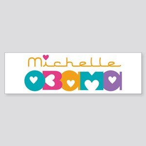 Michelle Obama Hearts Sticker (Bumper)