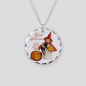 Vintage Halloween witch Necklace Circle Charm