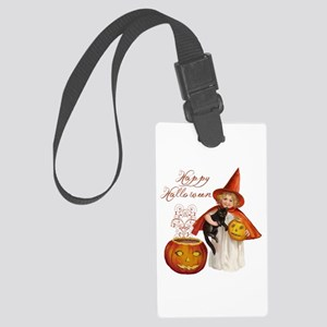 Vintage Halloween witch Large Luggage Tag