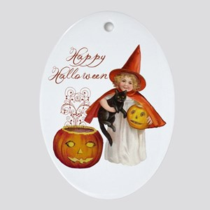 Vintage Halloween witch Ornament (Oval)