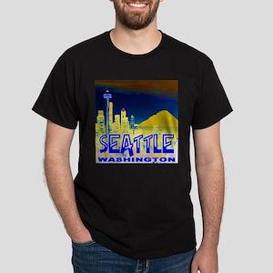 Seattle Washington Golden Skyline Dark T-Shirt