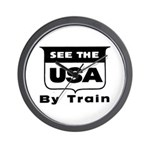 See The USA By Train ! Wall Clock