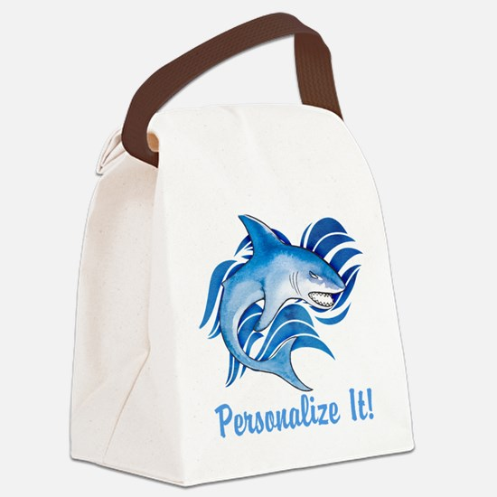 PERSONALIZED Ocean Shark Canvas Lunch Bag
