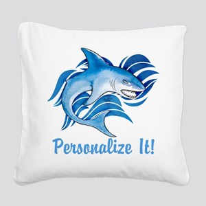 PERSONALIZED Ocean Shark Square Canvas Pillow