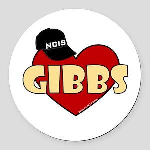 Gibbs Heart Round Car Magnet