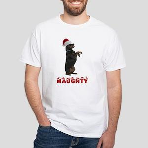 Naughty Rottweiler White T-Shirt