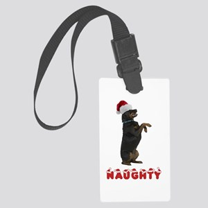 Naughty Rottweiler Large Luggage Tag