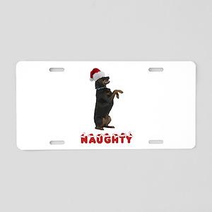 Naughty Rottweiler Aluminum License Plate