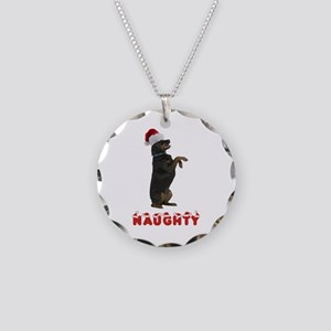 Naughty Rottweiler Necklace Circle Charm