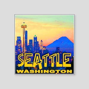 Seattle WA Mt. Rainier Golden Skyline Square Stick