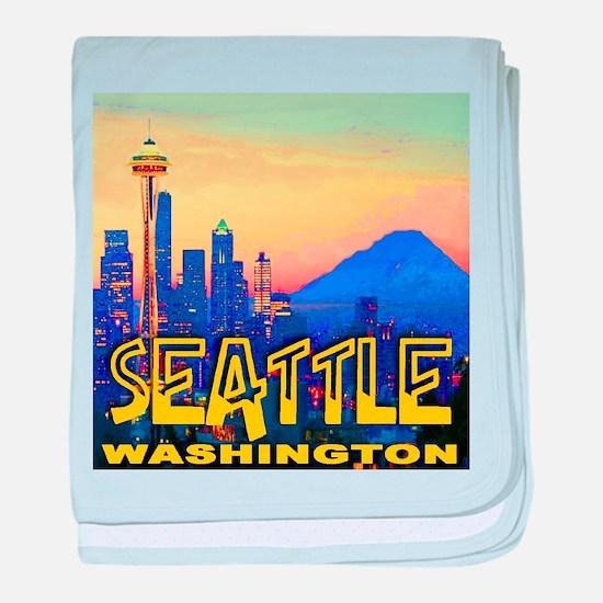 Seattle WA Mt. Rainier Golden Skyline baby blanket