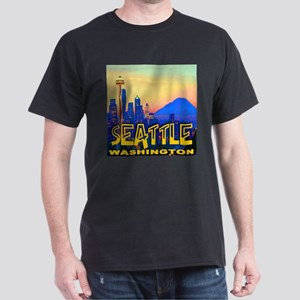 Seattle WA Mt. Rainier Golden Skyline Dark T-Shirt
