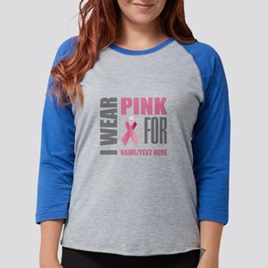 Pink Awareness Ribbon Customiz Womens Baseball Tee